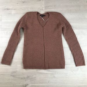 Love Tree Ribbed Sweater Rust Colored Faux Wool